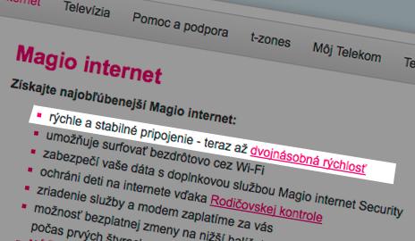Telekom zavádza reklamou na dvojnásobne rýchly internet