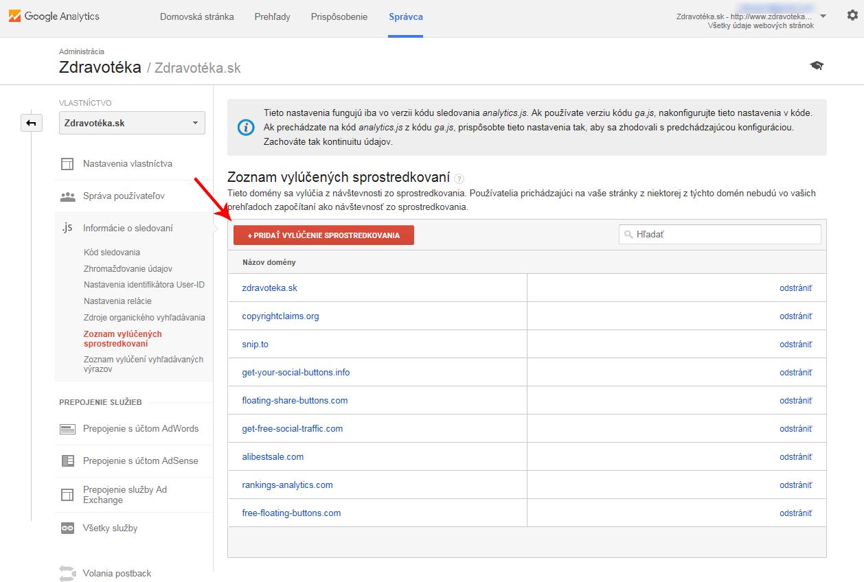 postup ako blokovať nežiaducu návštevnosť v Google Analytics