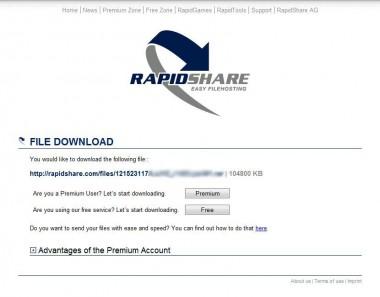 Rapidshare - sťahovanie súboru z internetu